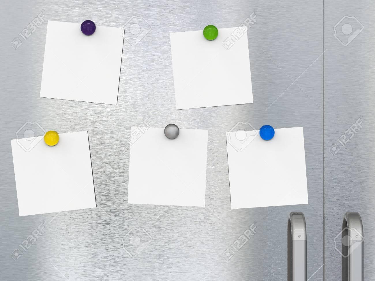 3d rendering five empty notes with fridge magnets on refrigerator door Stock Photo - 79767375 & 3d Rendering Five Empty Notes With Fridge Magnets On Refrigerator ...