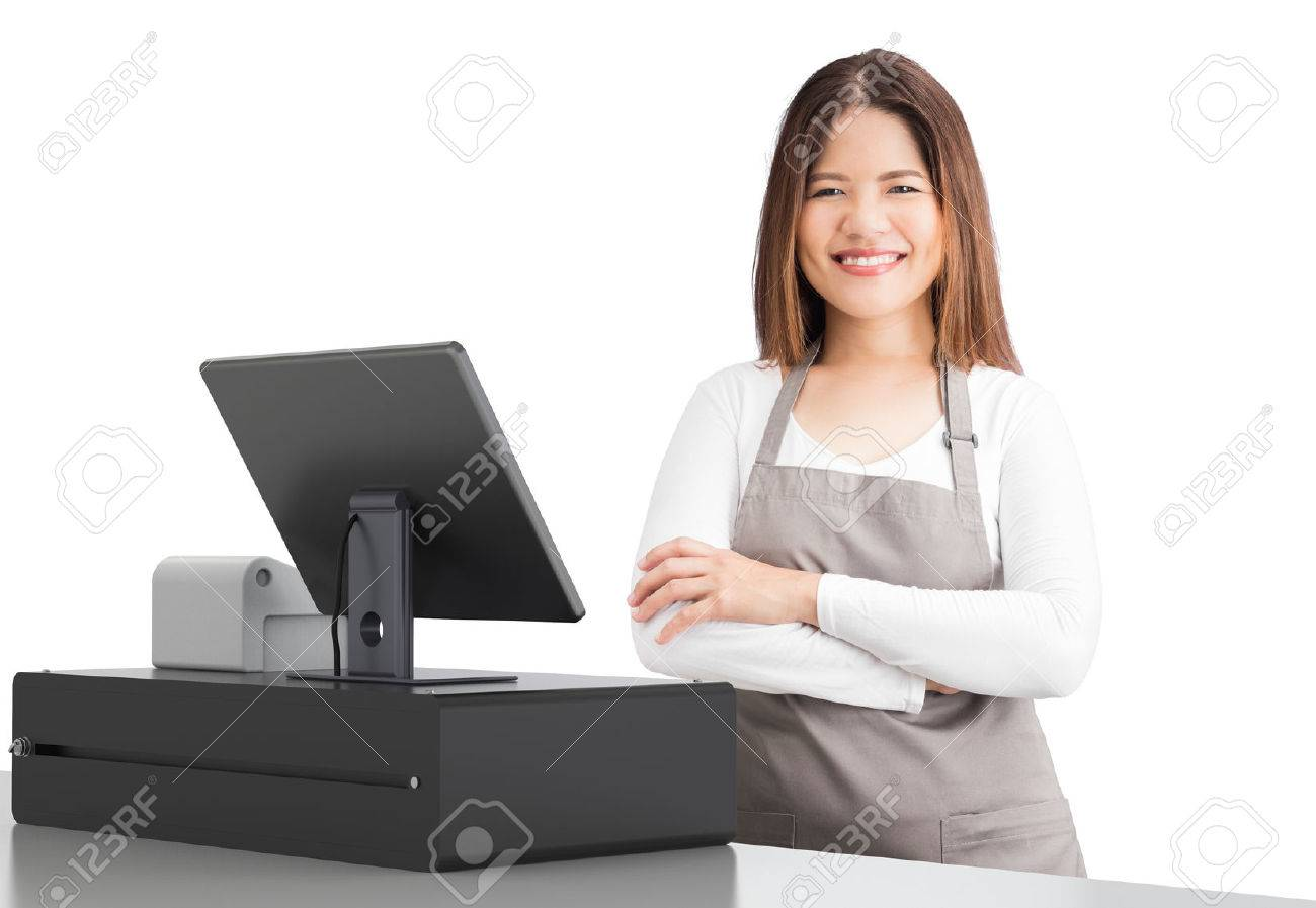 asian worker with 3d rendering cashier desk on white background - 81282711