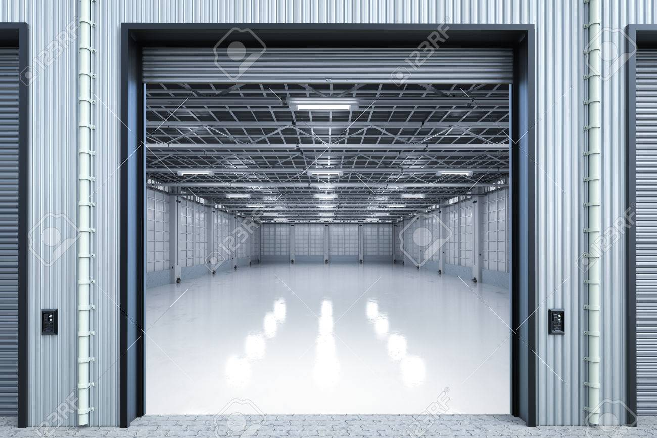 3d rendering warehouse interior with shutter doors opened Stock Photo - 81697060 & 3d Rendering Warehouse Interior With Shutter Doors Opened Stock ...