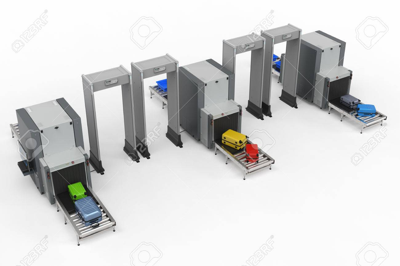 3d rendering airport security checkpoint with scanner machines