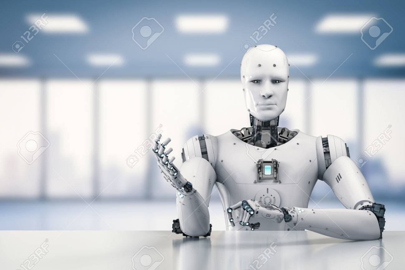 3d rendering humanoid robot sitting behind table on white background - 83608018