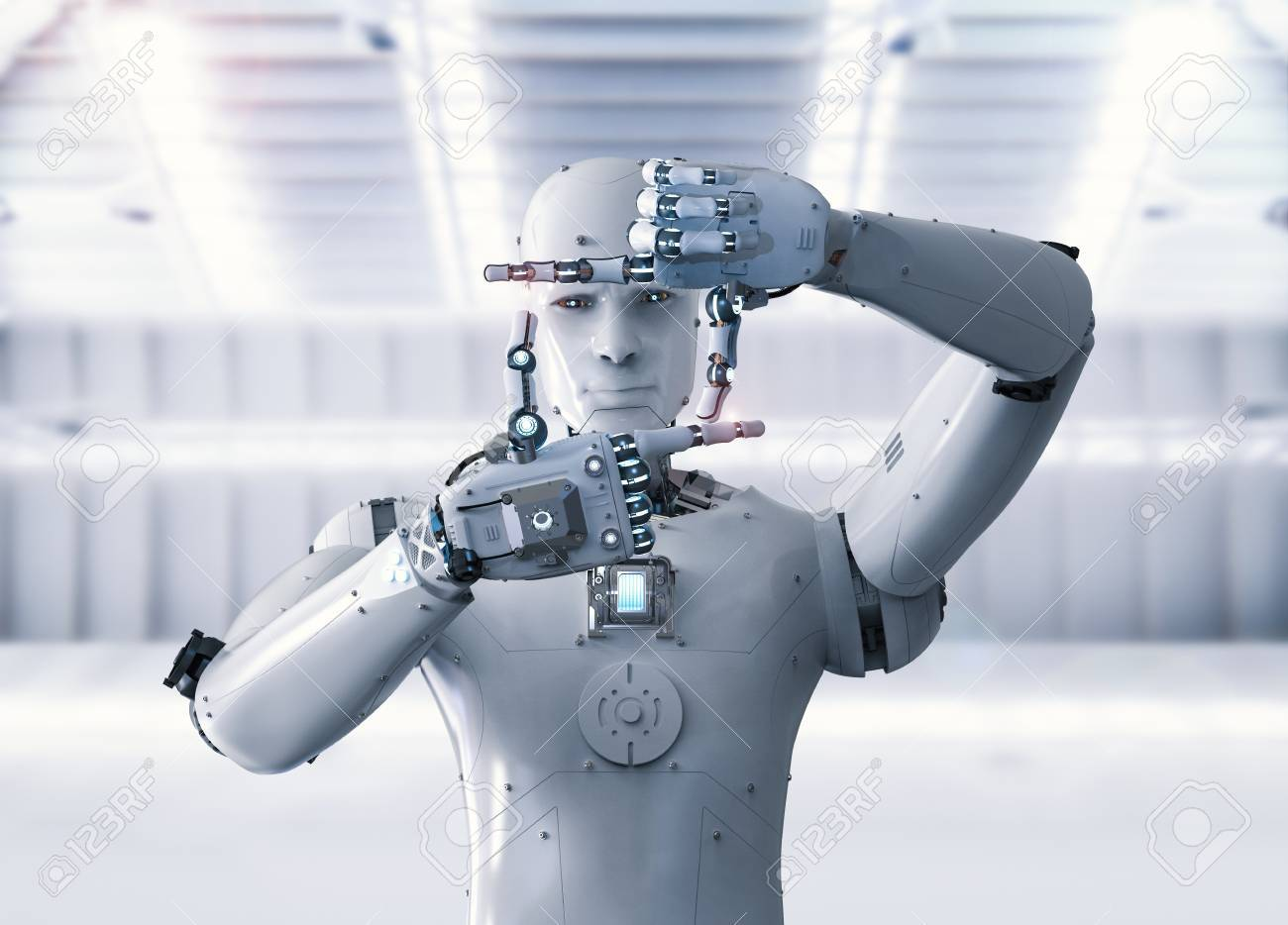 3d rendering humanoid robot measure with finger - 83608221