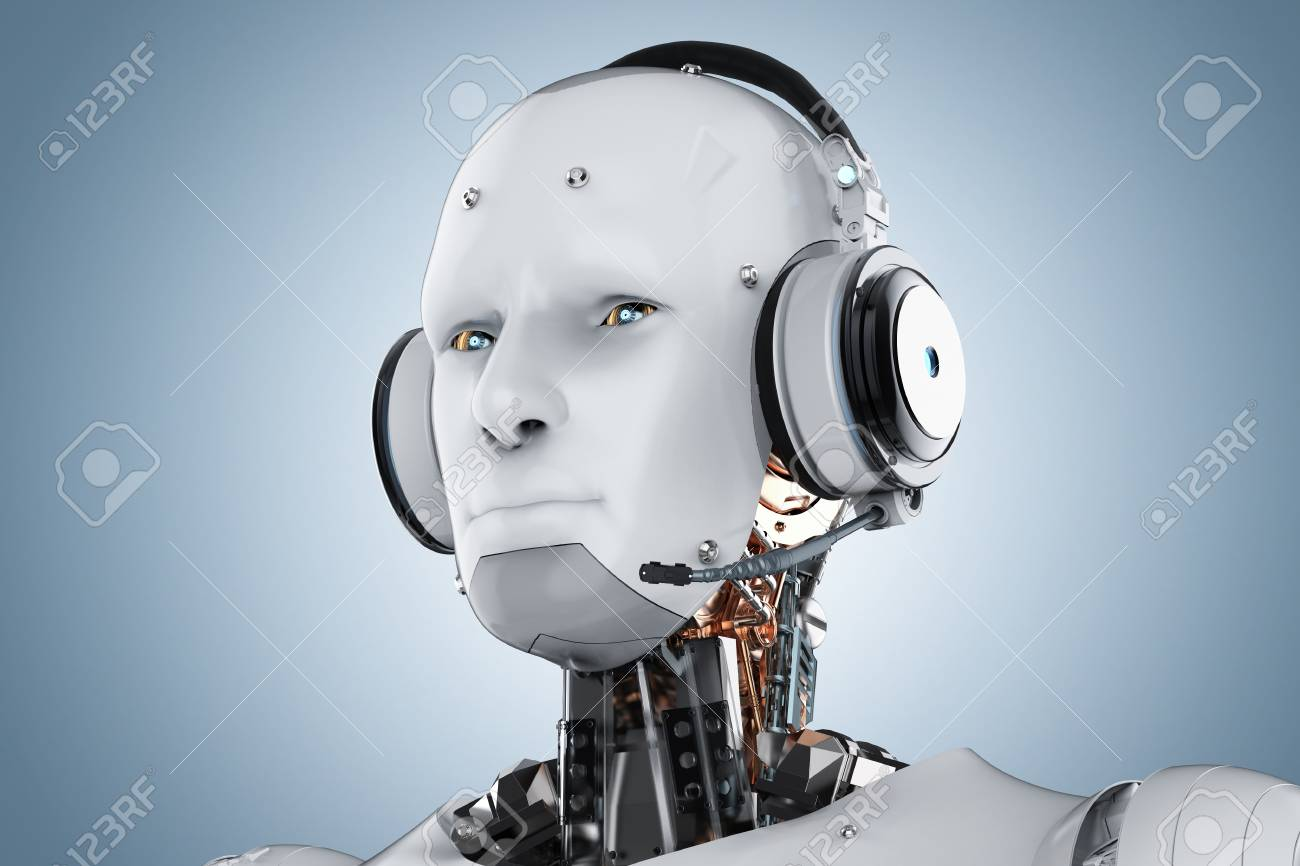 3d rendering humanoid robot with headset on blue background - 84567874