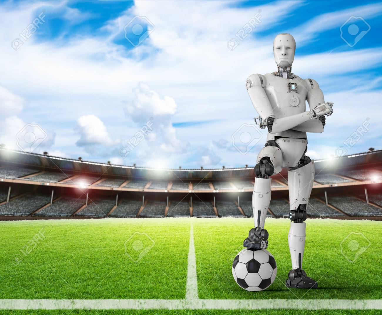 3d rendering humanoid robot with soccer ball - 84567876