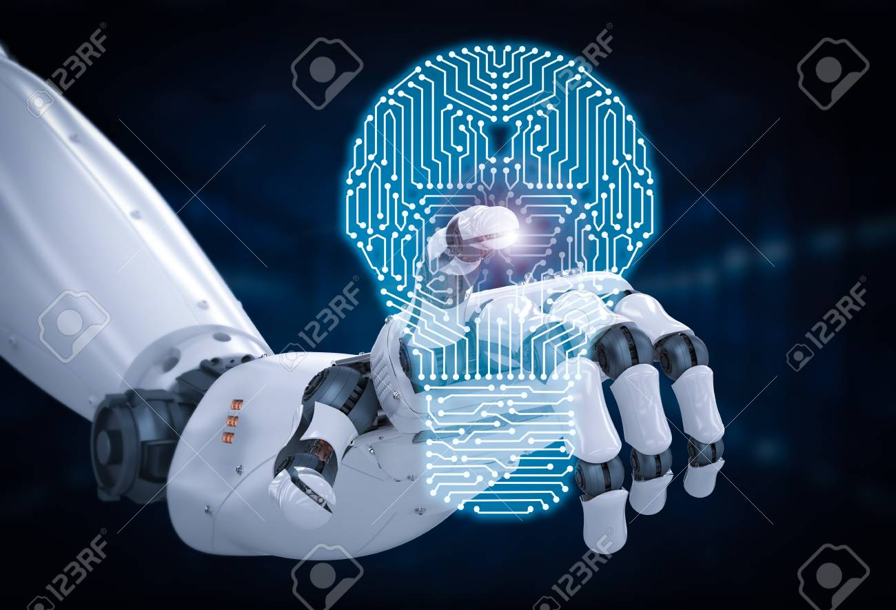 3d rendering robotic hand with circuit board in lightbulb shape - 87331559