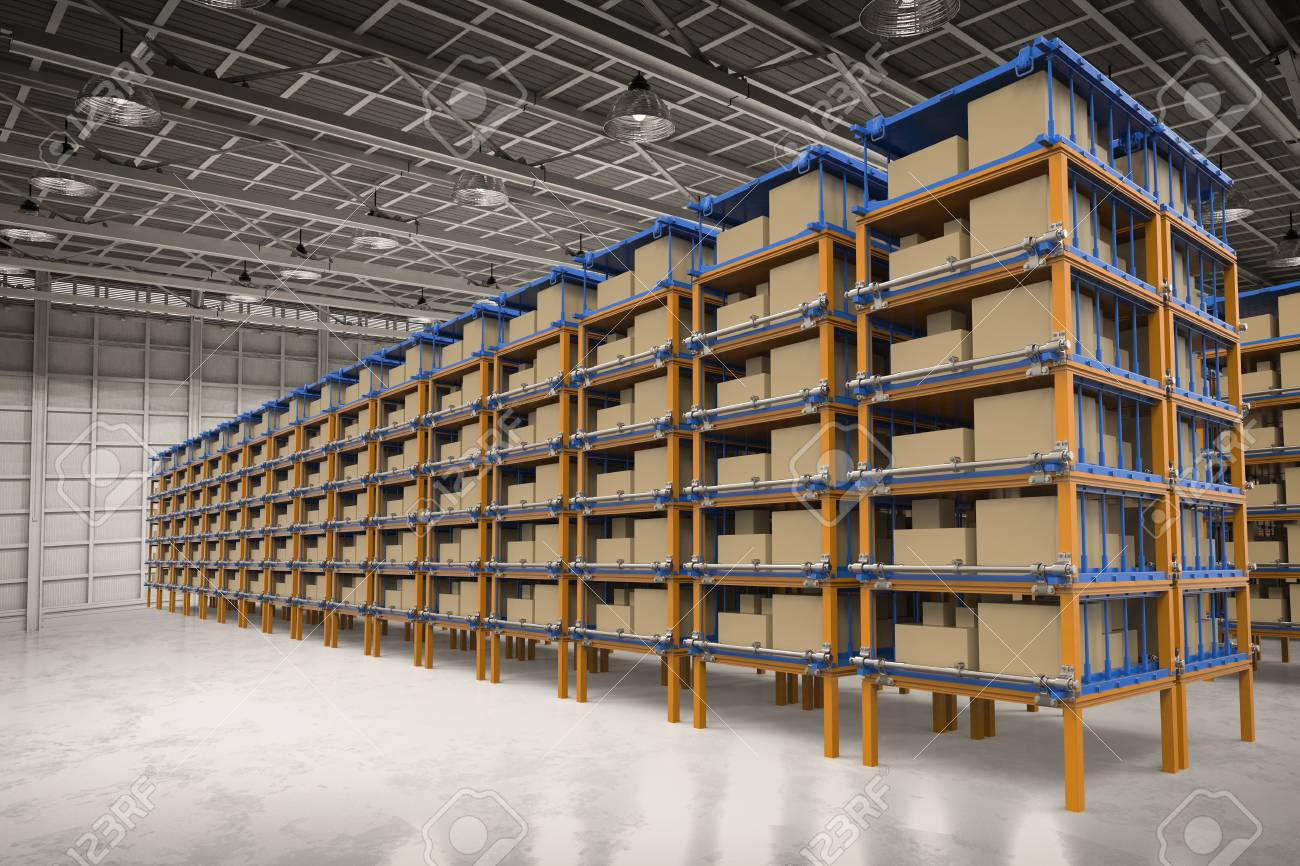 3d rendering racks full of carton boxes in warehouse stock photo