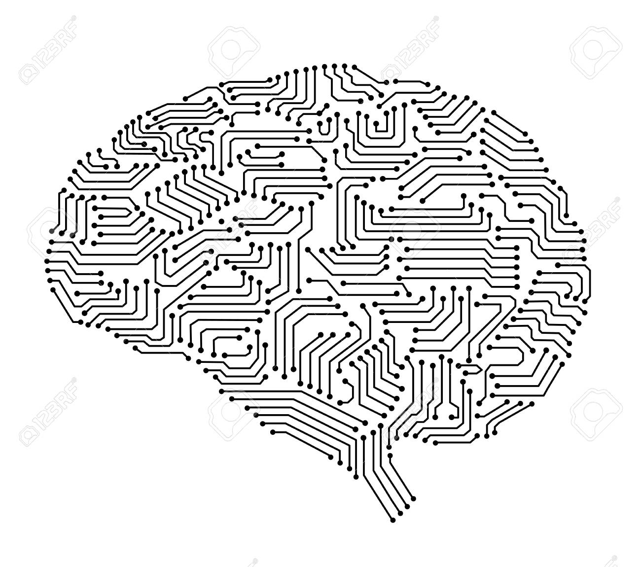 side vector circboard wiring diagram artificial intelligence brain or circuit board in brain shape  circuit board in brain shape