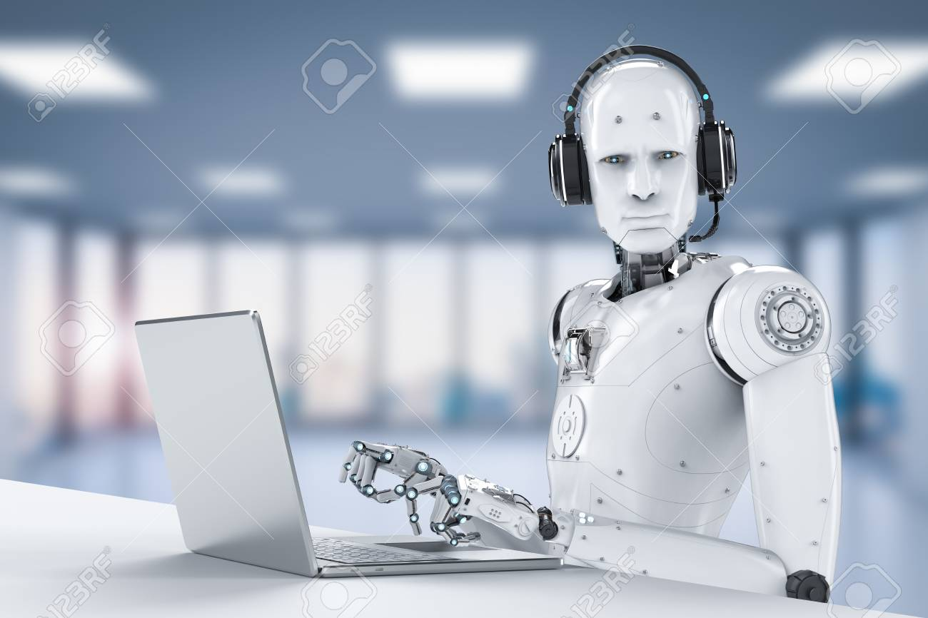 3d rendering humanoid robot working with headset and notebook - 92885903