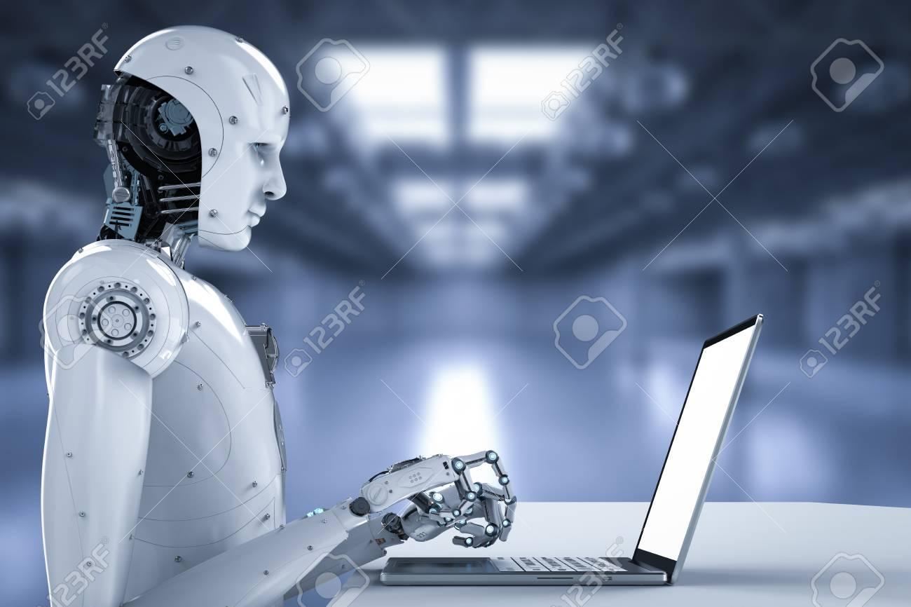 3d rendering humanoid robot working on laptop computer - 93407851