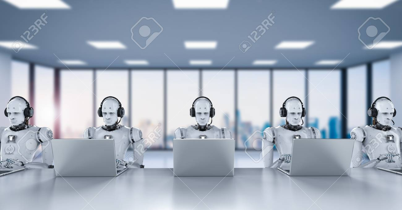 3d rendering humanoid robots working with headset and notebook - 92926920