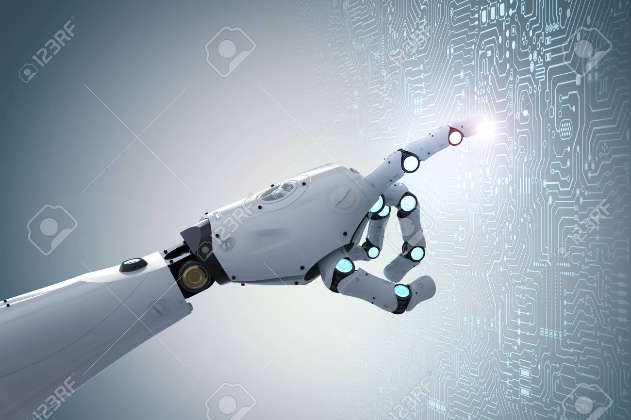 3d rendering robot finger pointing on circuit board background - 95162943