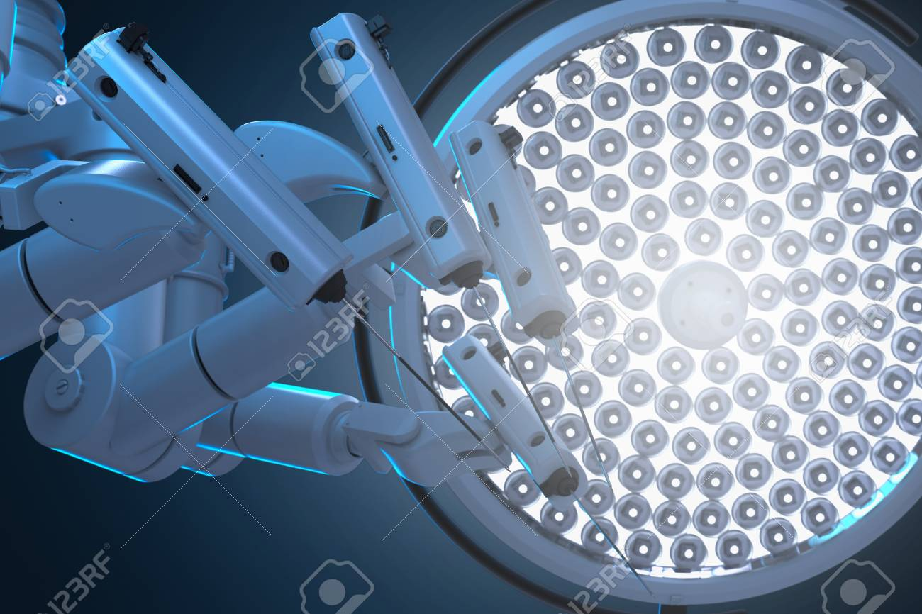 3d rendering robot surgery machine with surgery lights - 102397446