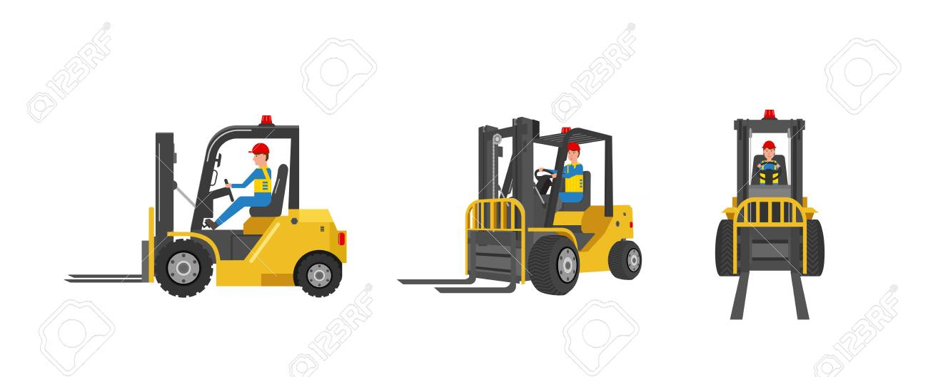 Forklift truck with worker driving isolated on white vector illustration - 124639543