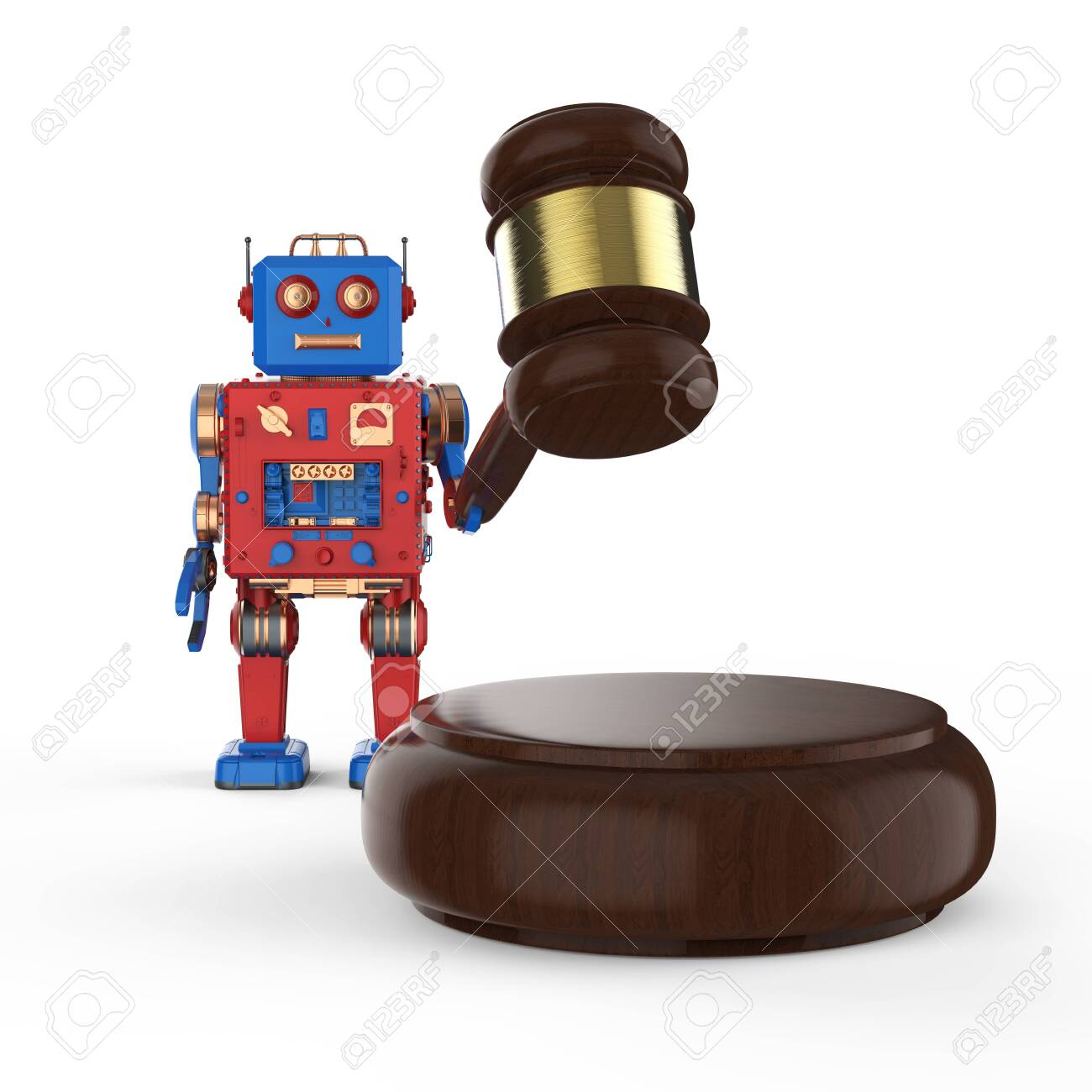 Cyber law concept with 3d rendering robot tin toy with gavel judge on white background - 128795112