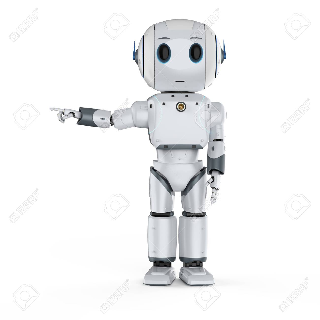 3d rendering cute artificial intelligence robot finger point with cartoon character - 156046015