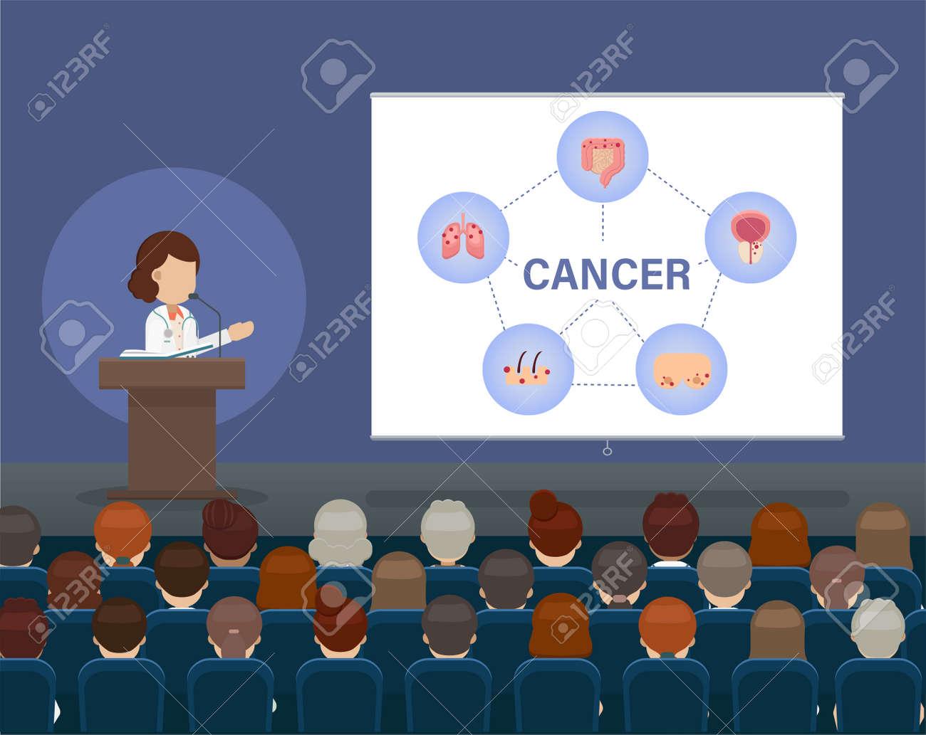 Medical conference concept with doctor speak on stage illustration - 159374652