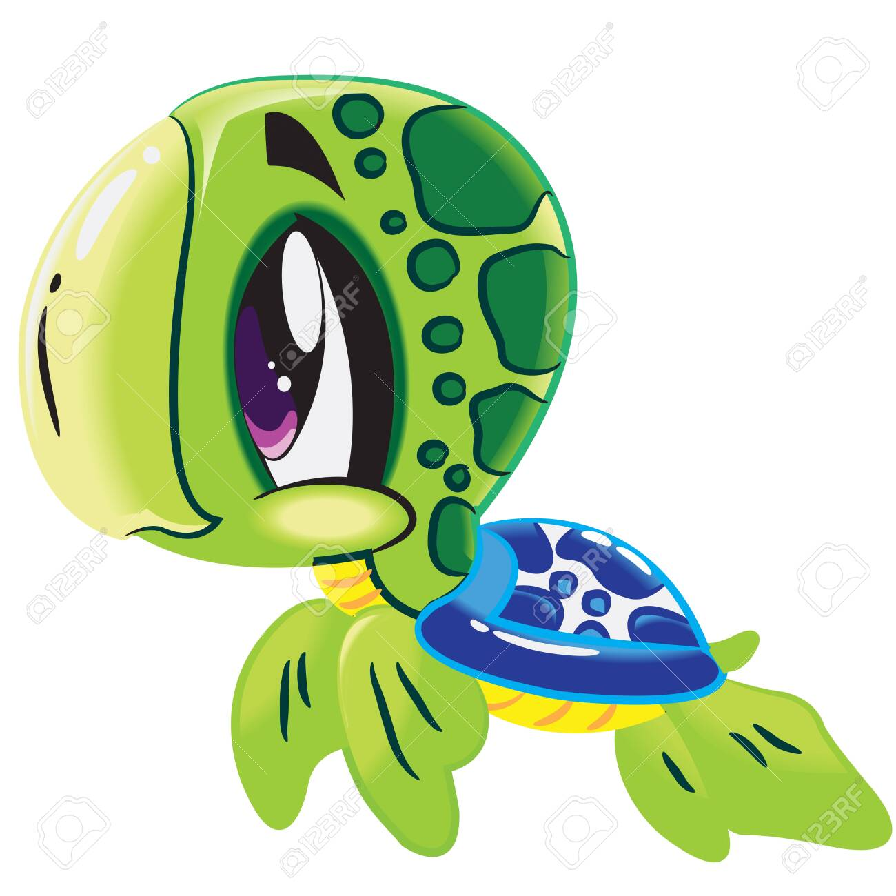 Cute Baby Sea Turtle Vector Illustration Marine Animal