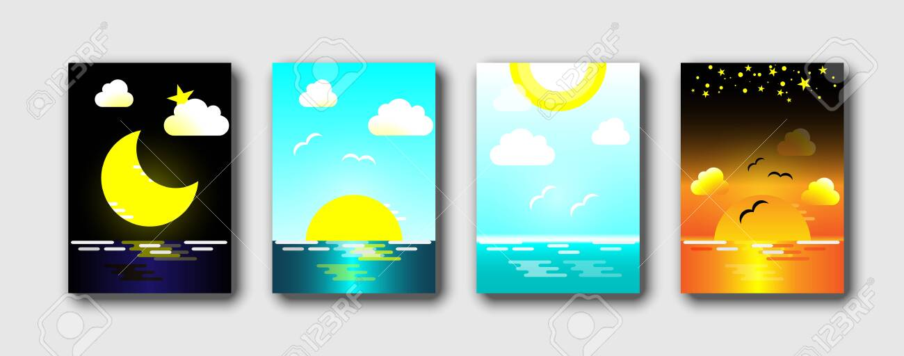 Daytime sea. Morning, day and night skyline, Ocean in different time and sea sky. Abstract background vector illustration set. - 141201155