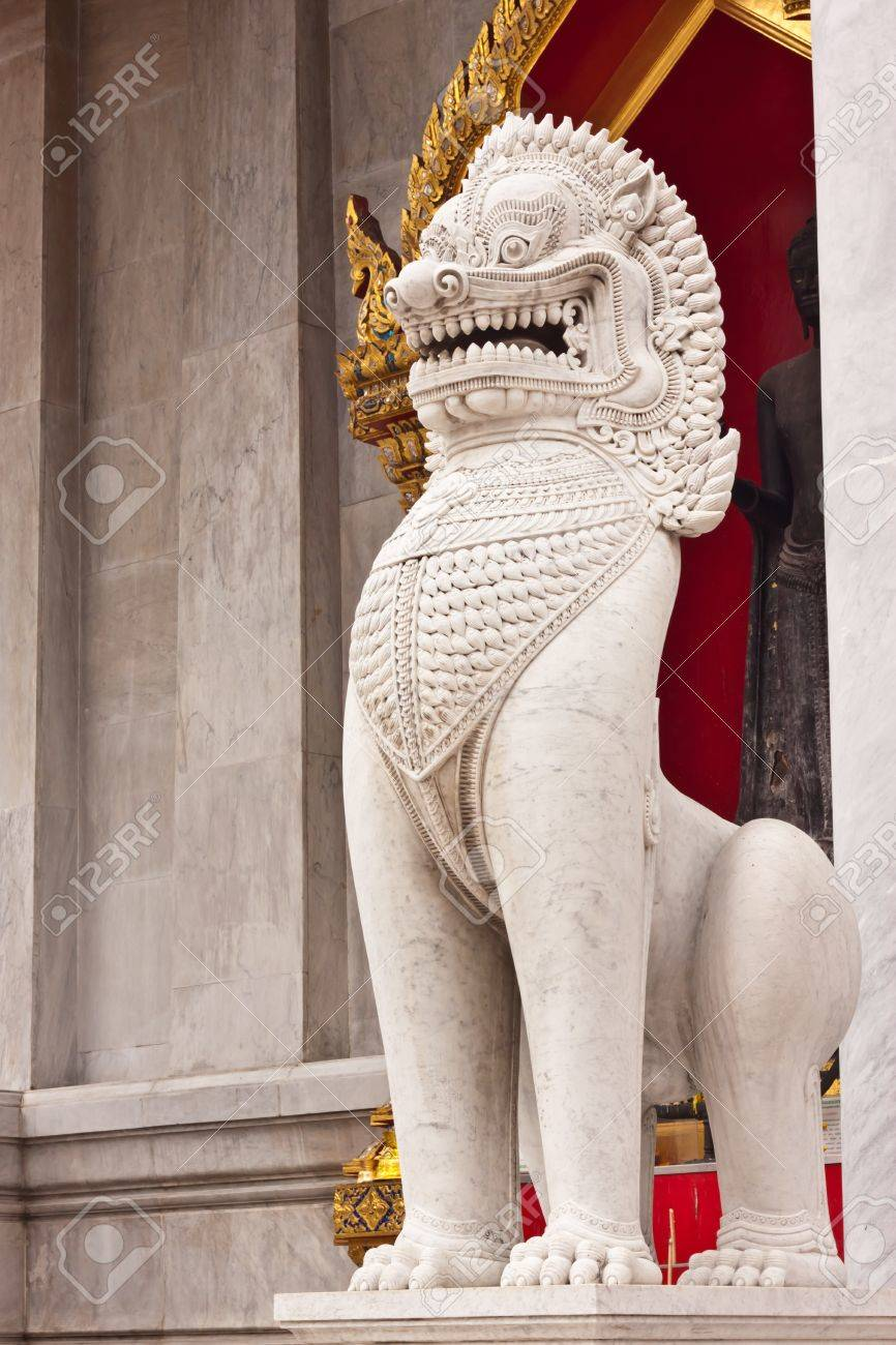 The lion image in front of Buddhist church at wat benchamaborphit in Thailand Stock Photo - 14834527