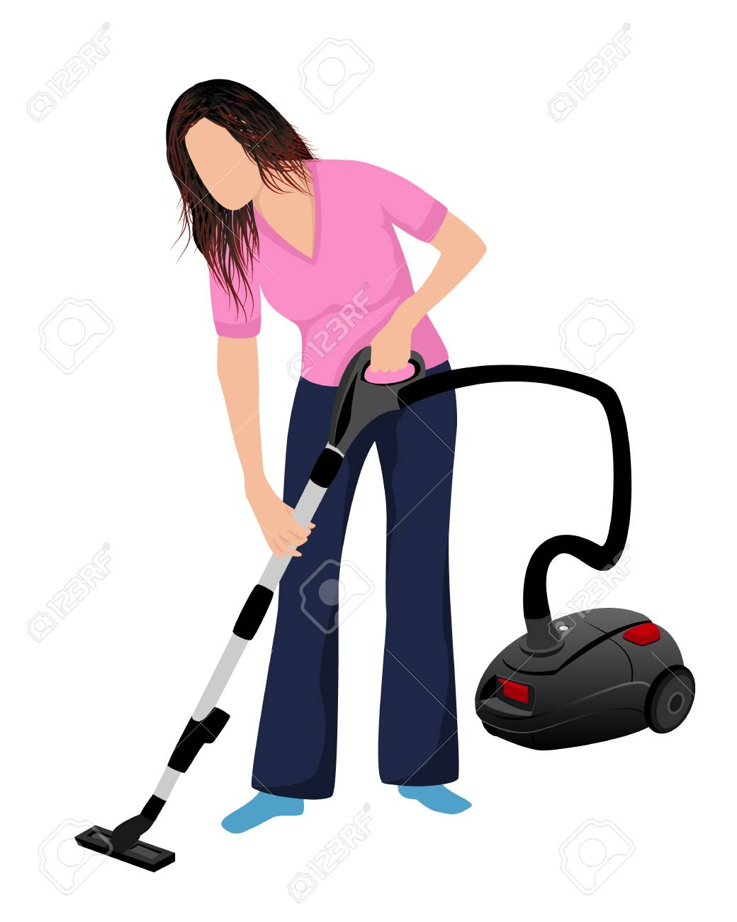 Lovely Lady Use Vacuum Cleaner Vector Design Stock