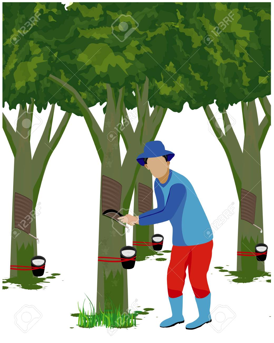Agriculturist Cut Rubber Tree Vector Design Royalty Free Cliparts