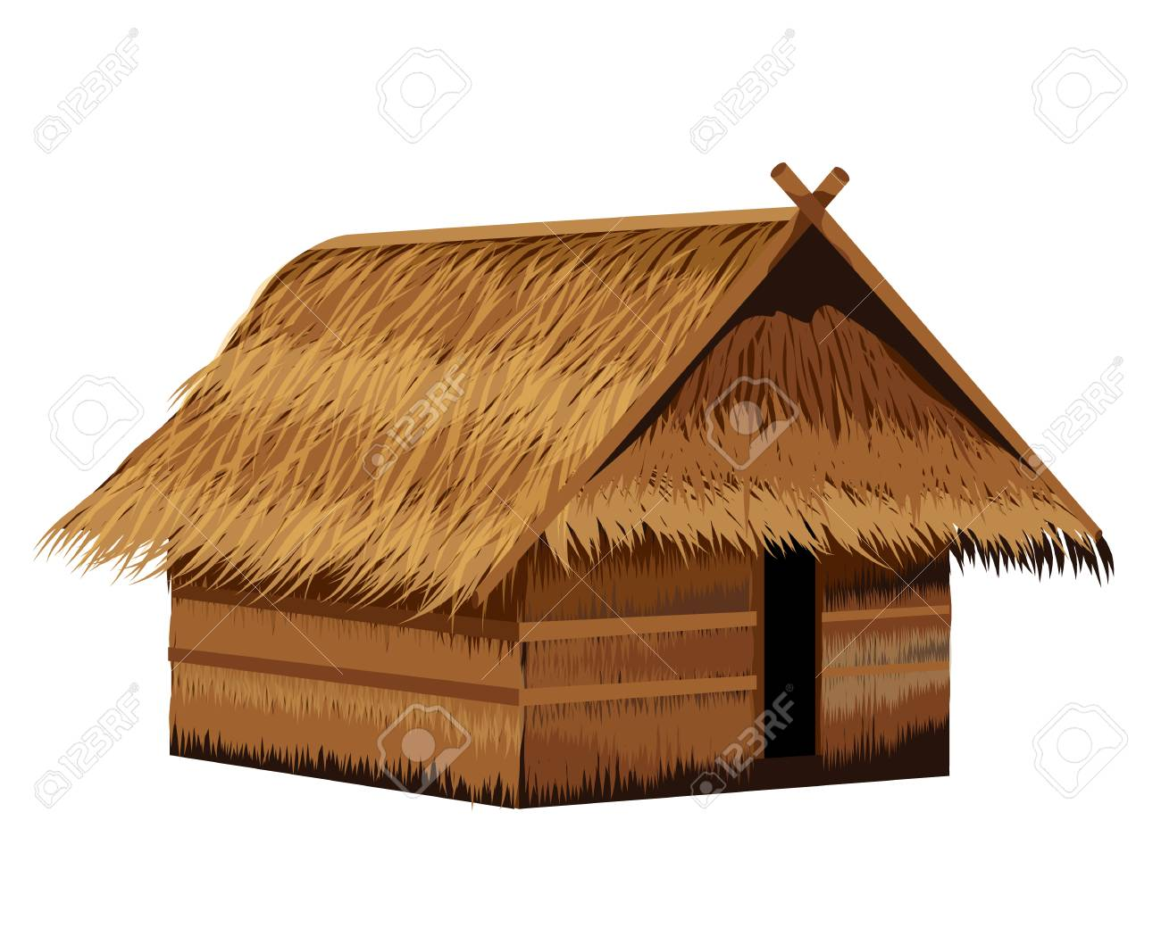 Isolate Grass Hut And Ingredient Around Hut Vector Design Royalty Free  Cliparts, Vectors, And Stock Illustration. Image 88619169.