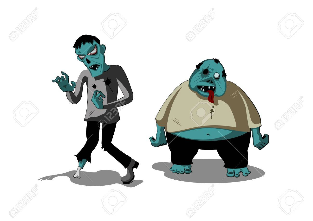 Fat and skinny cartoon zombies royalty free cliparts vectors and