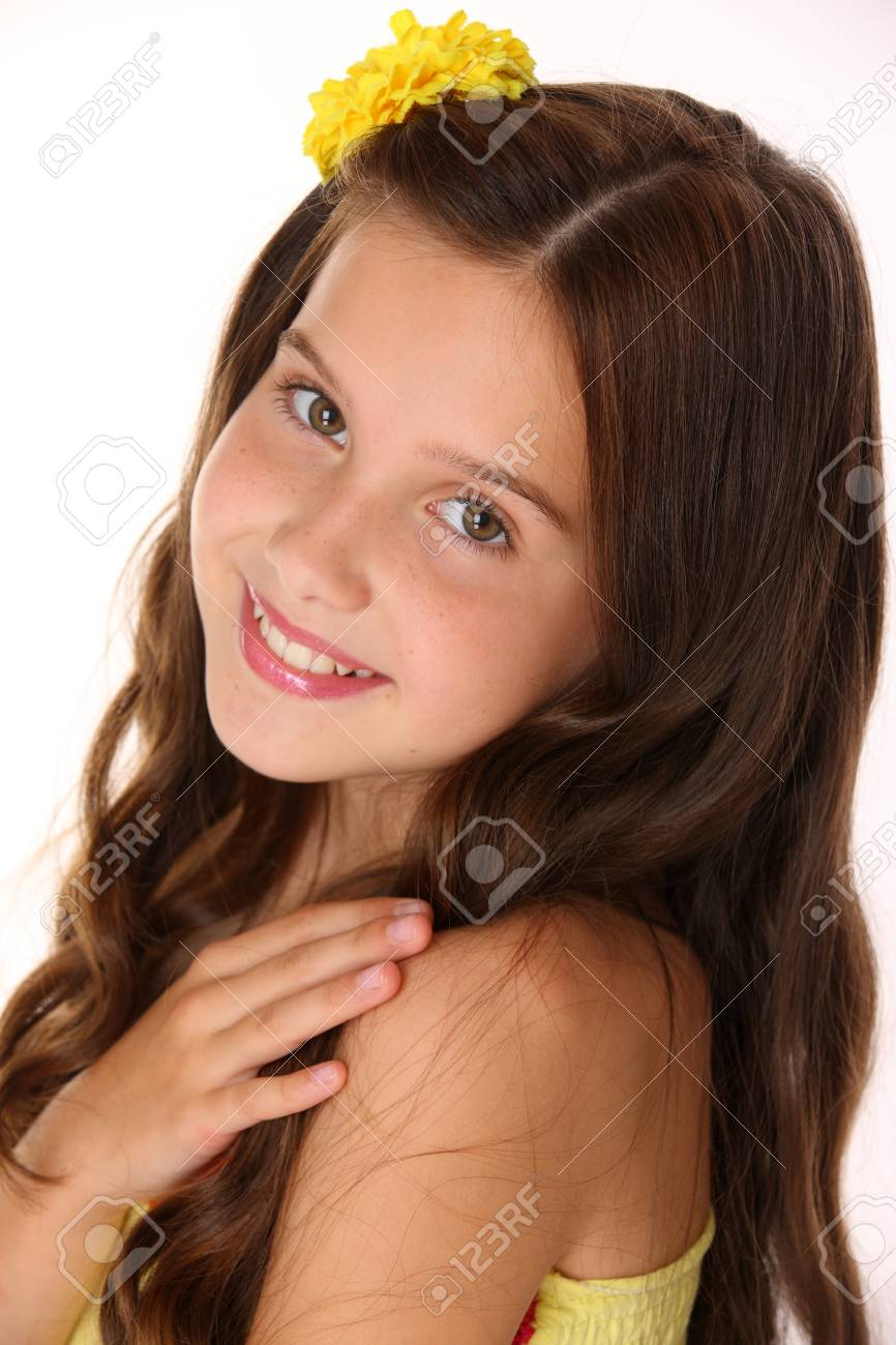 Portrait Of A Happy Young Teenage Girl Close Up Pretty Preteen