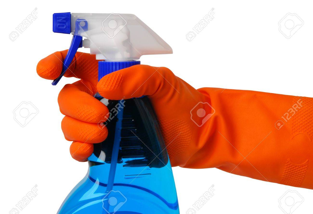 Gloved hand with an atomizer Stock Photo - 10556097