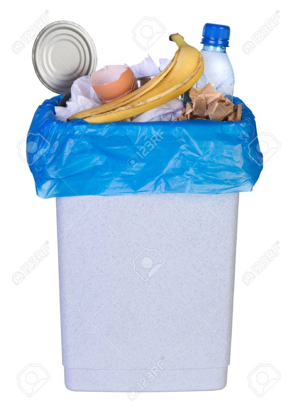 Bin full of rubbish isolated on white background Stock Photo - 21151820