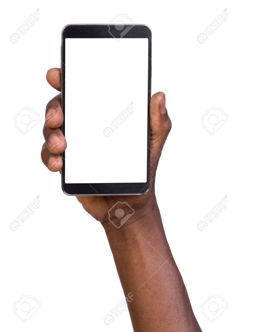Hand holding mobile smart phone with blank screen - 32750750
