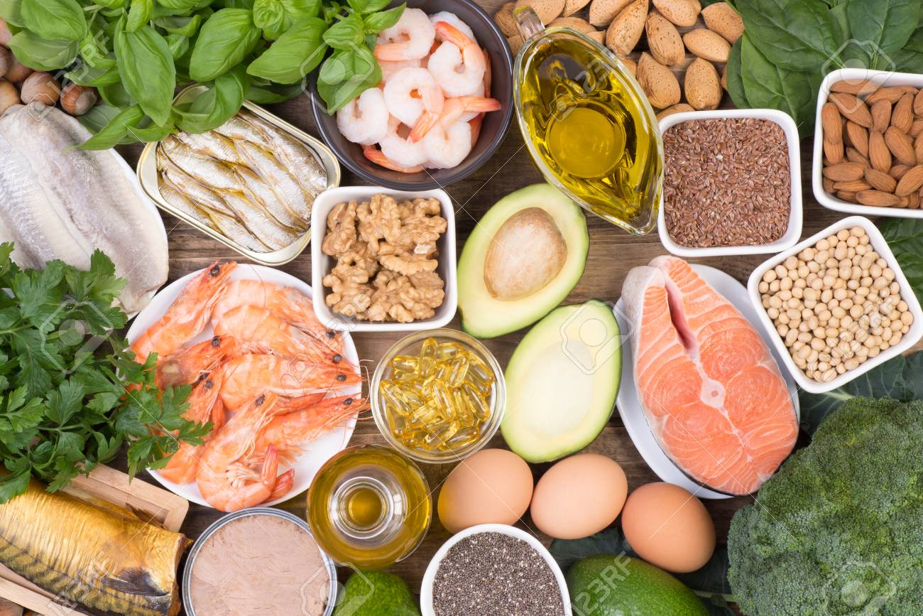 Food sources of Omega 3 fatty acids such as grains, fruit, vegetables and fish, top view - 90788318