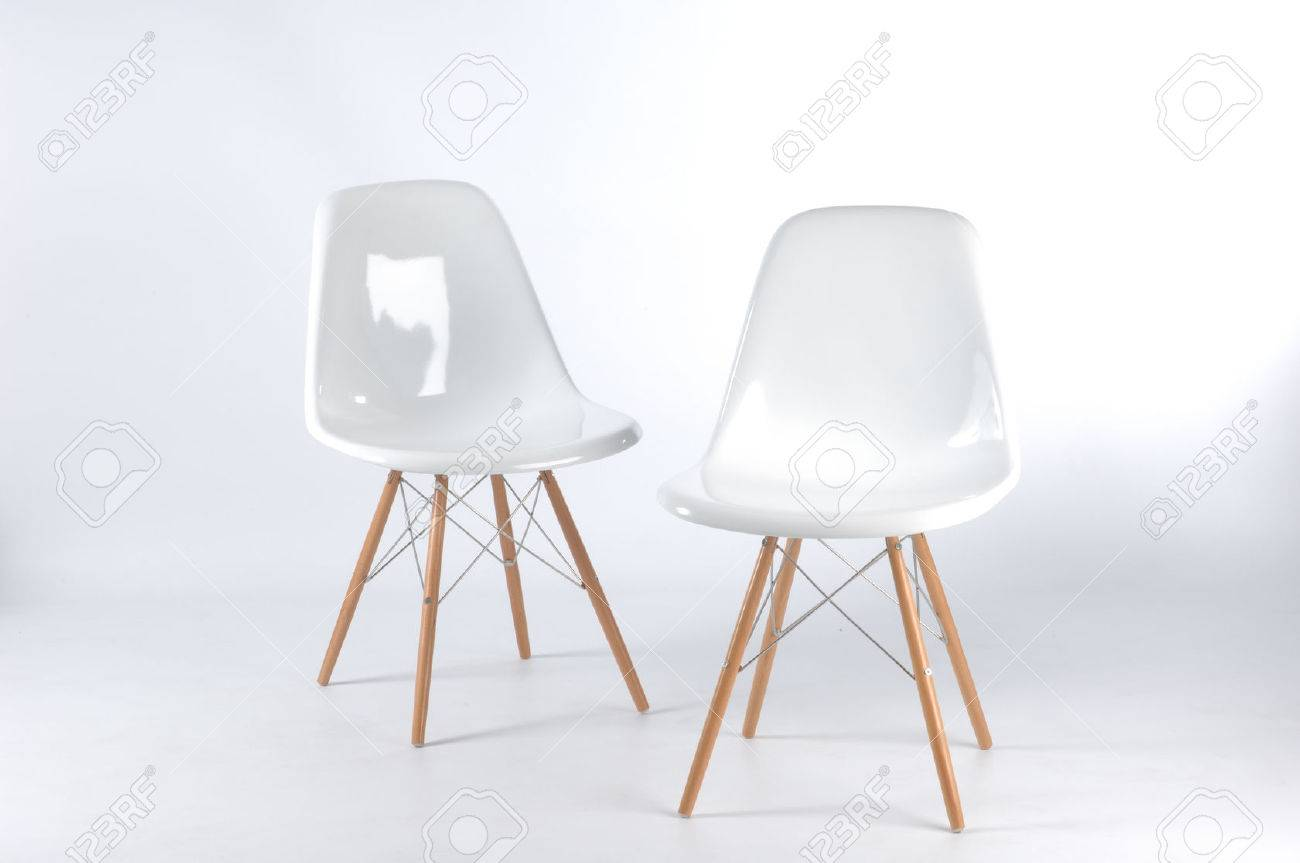 Stock Photo - two modern white fiberglass chairs & Two Modern White Fiberglass Chairs Stock Photo Picture And Royalty ...
