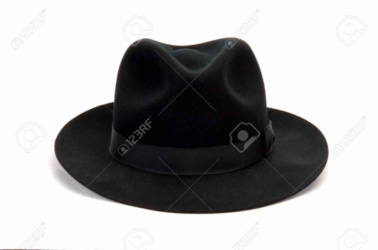 3fb7808a8f882 black man felt hat isolated at white background Stock Photo - 4378723