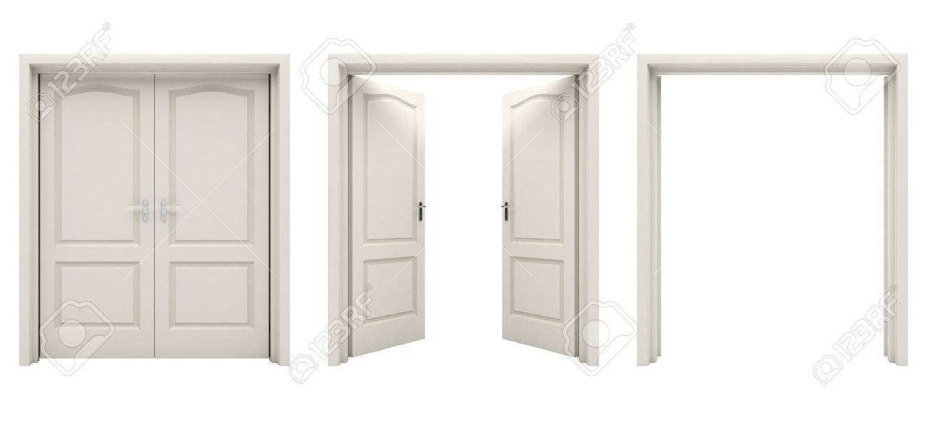 double door open. Open White Double Door Isolated On A Background. Stock Photo - 56441097 O