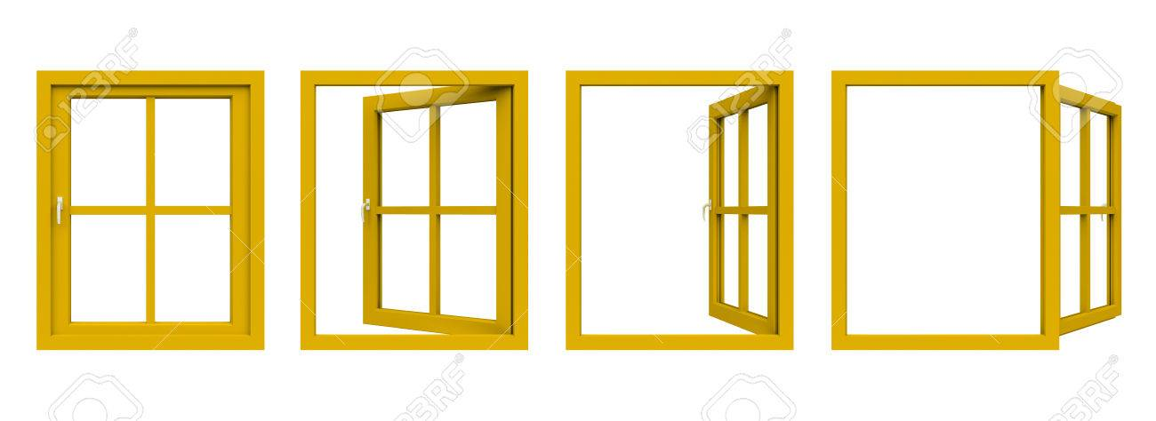 Yellow Window Frame. Stock Photo, Picture And Royalty Free Image ...