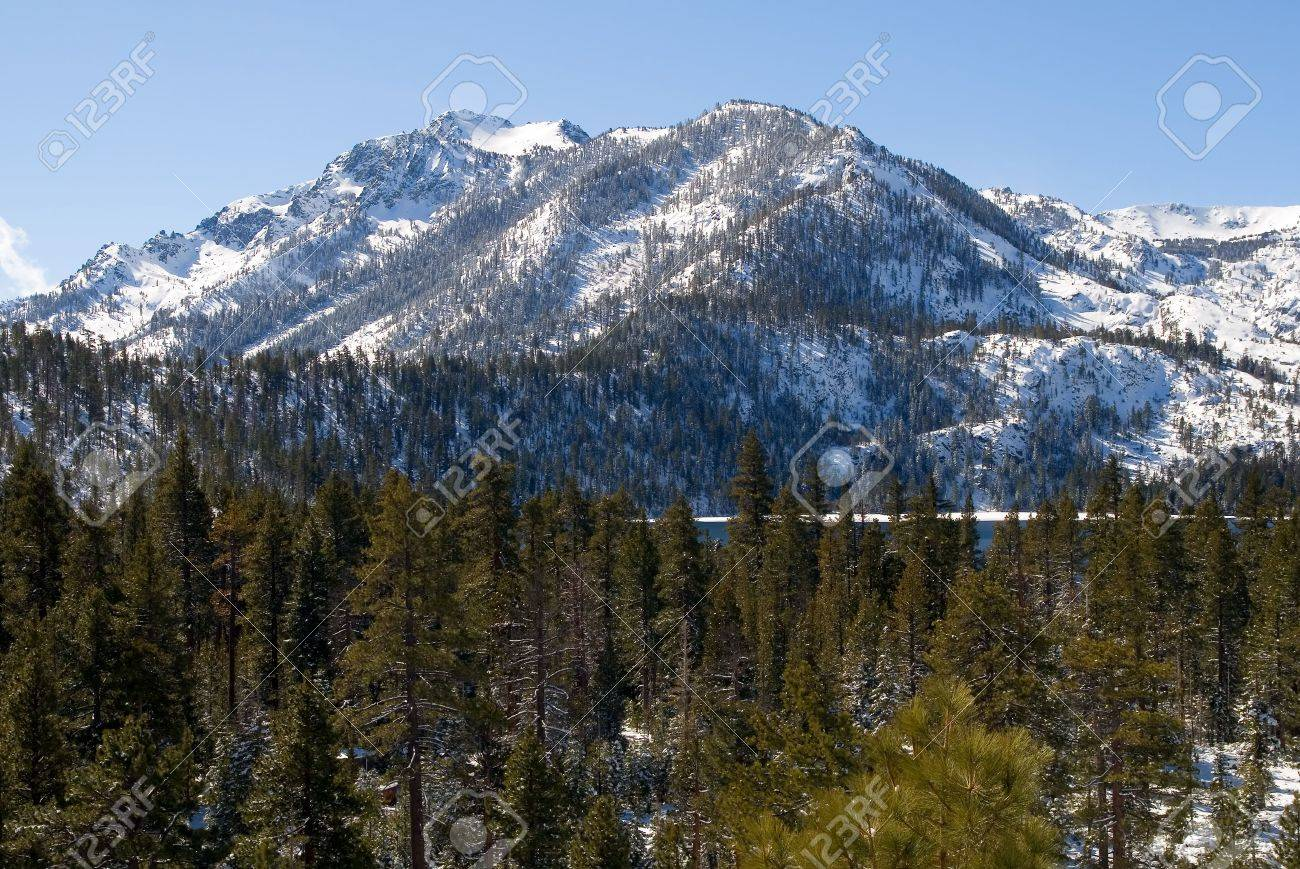 Big snowy mountain next to Lake Tahoe Stock Photo - 6148729