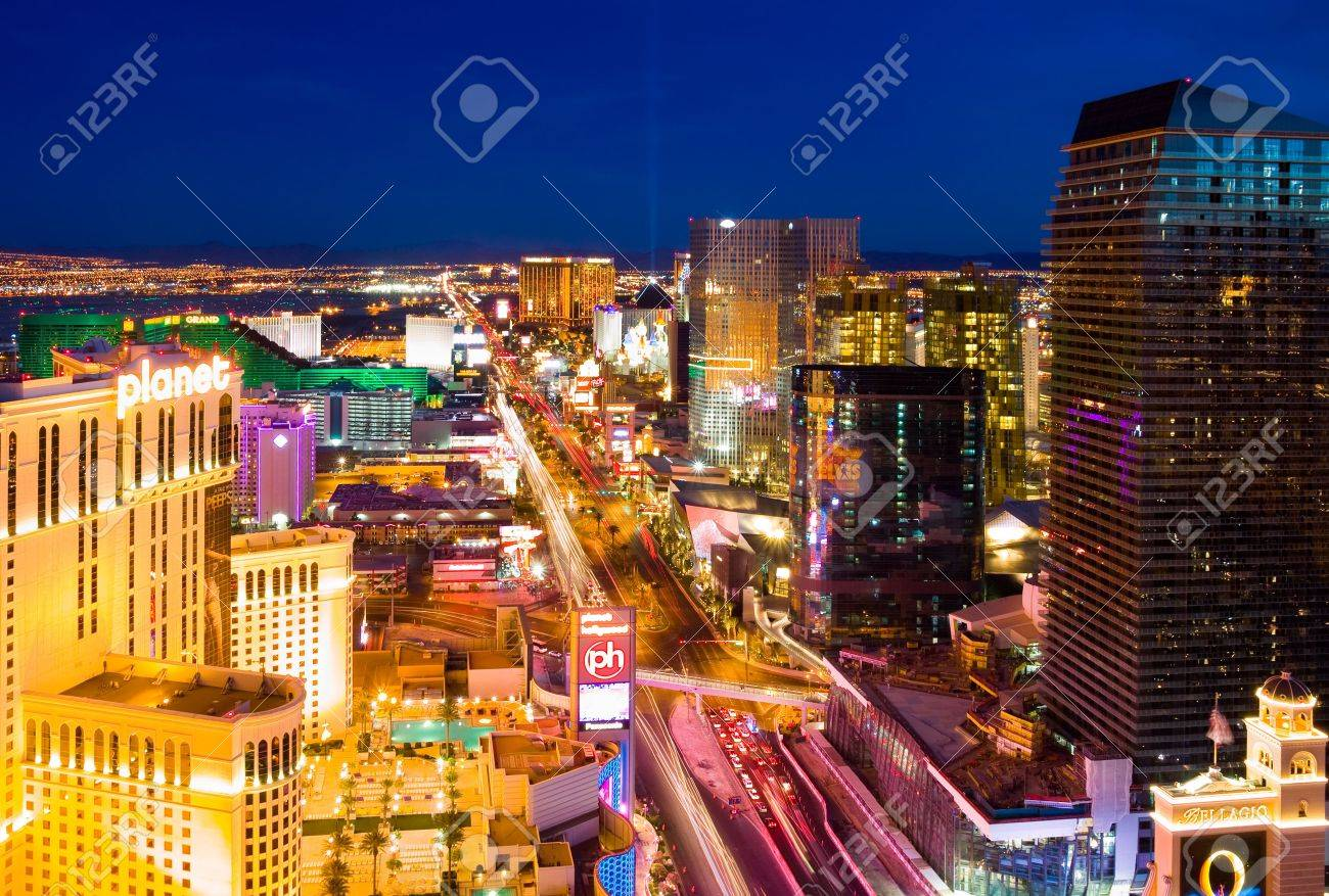 LAS VEGAS - JUNE 3: In this time lapse image, traffic travels along the Las Vegas strip on June 3, 2010 in Las Vegas, Nevada.  Stock Photo - 7115268