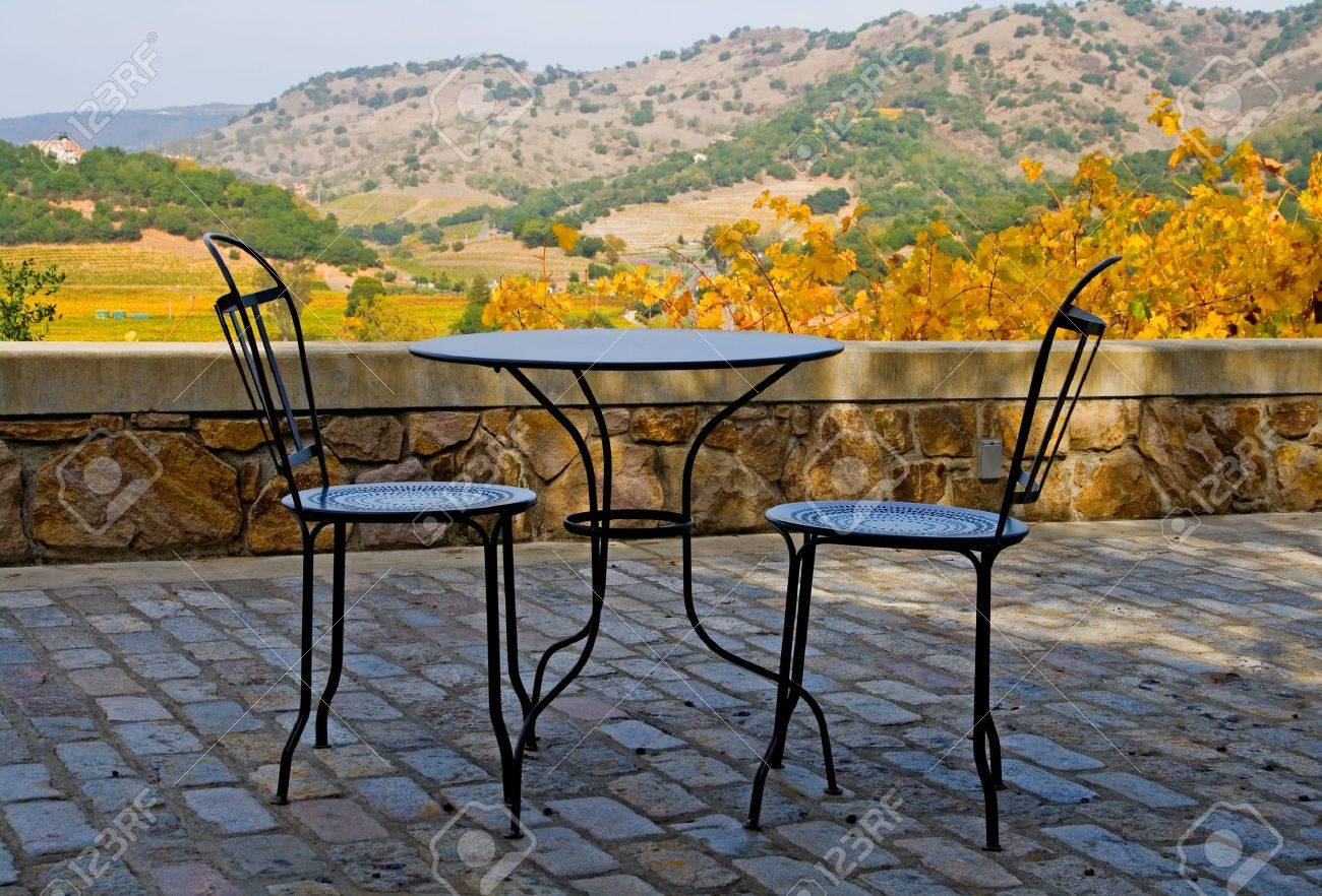 Tables and chairs outside the winery in Napa Valley in Autumn at sunset Stock Photo - 9197883