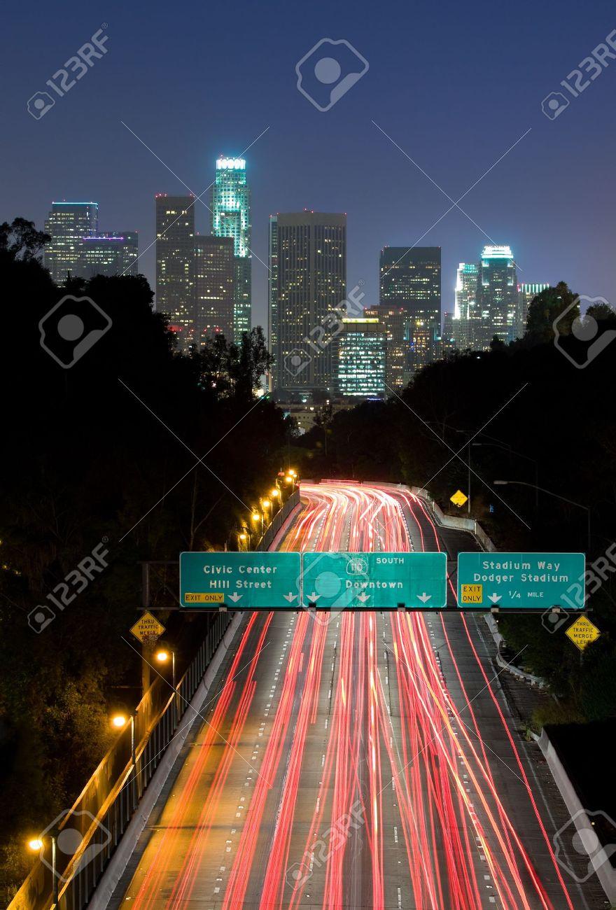 Traffic through Los Angeles at night - 10508519