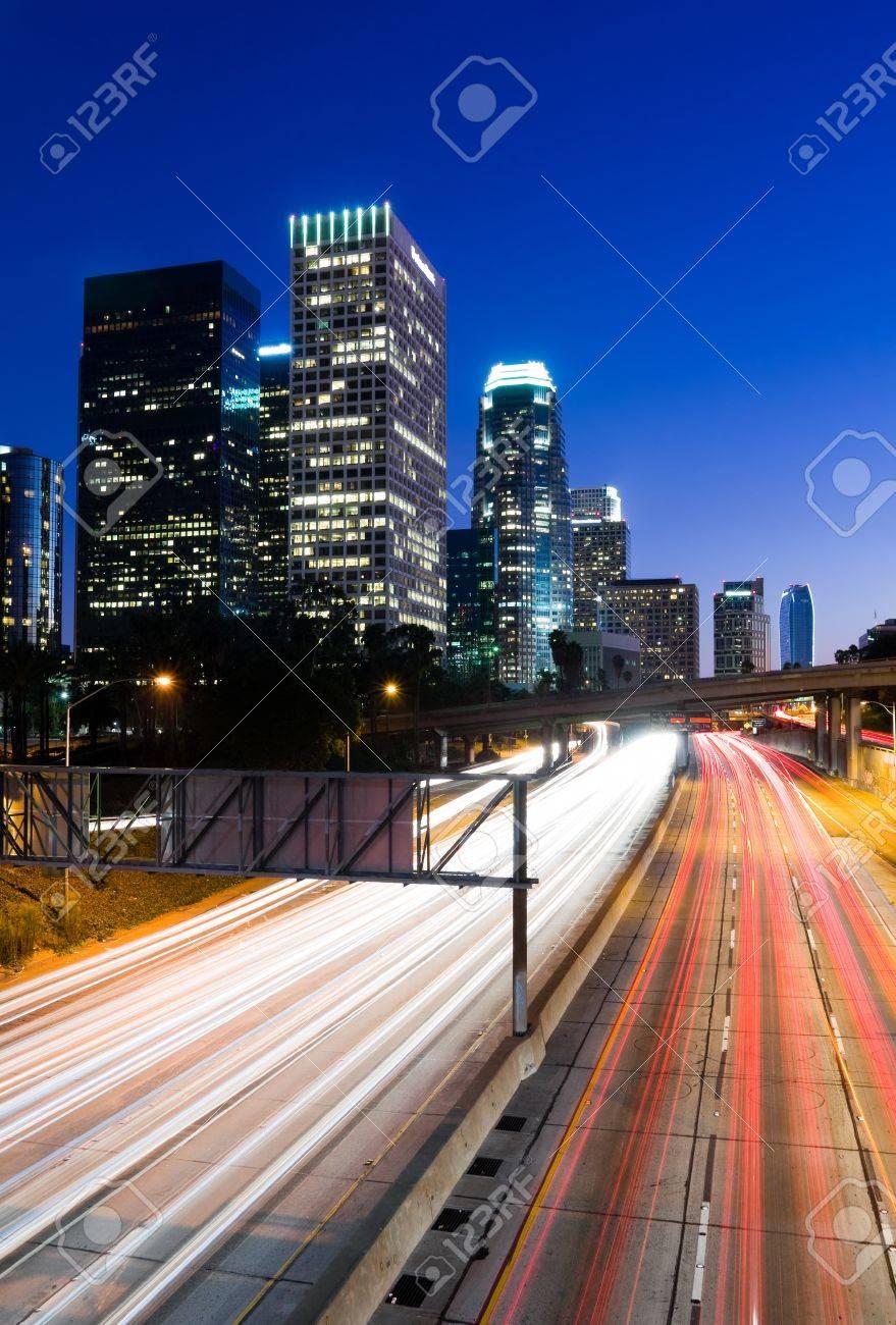 Traffic through Los Angeles at night - 11084807