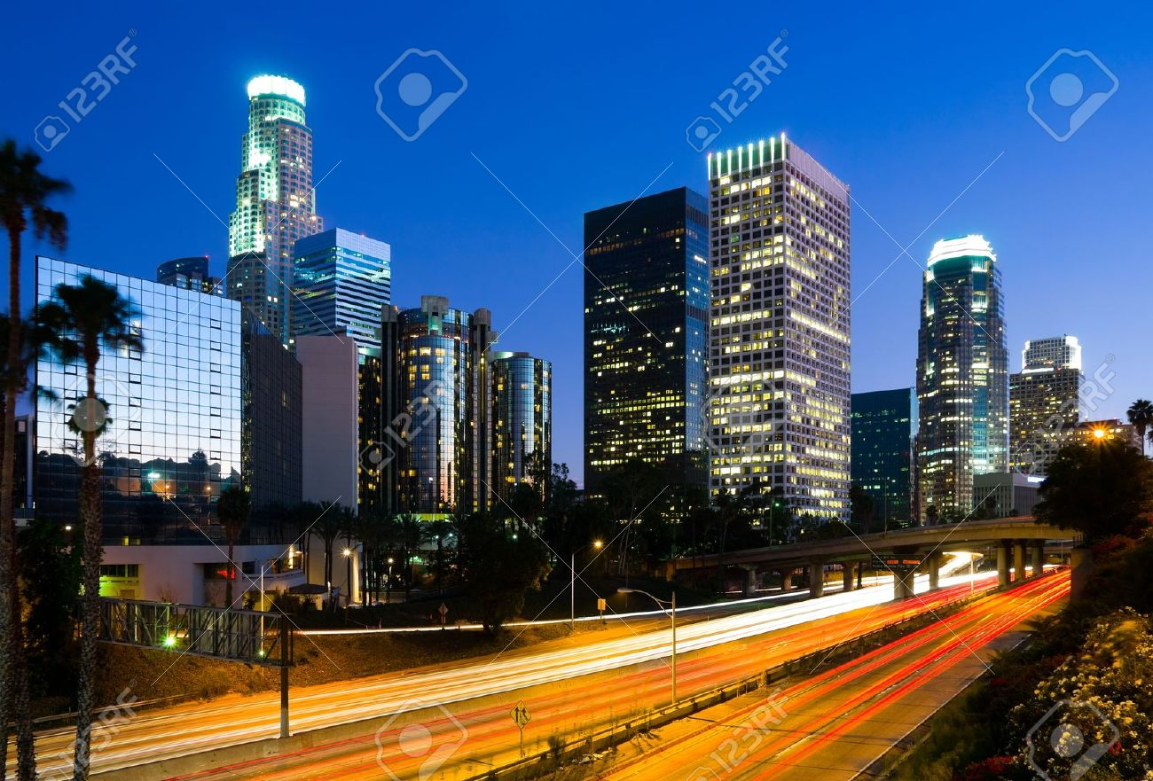 Los Angeles downtown at night - 11273513