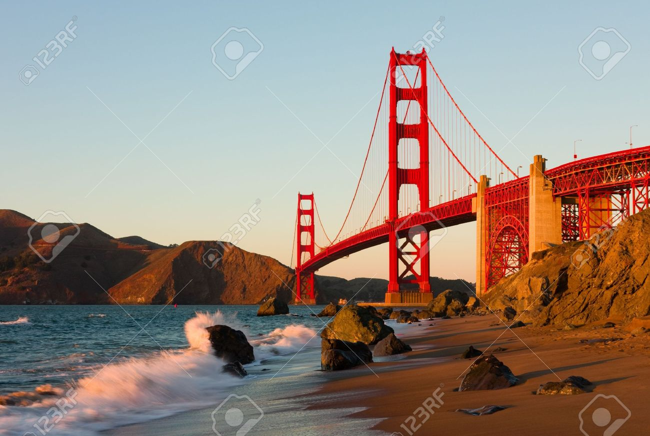 Printable coloring pages golden gate bridge - Golden Gate Bridge Golden Gate Bridge In San Francisco At Sunset Stock Photo