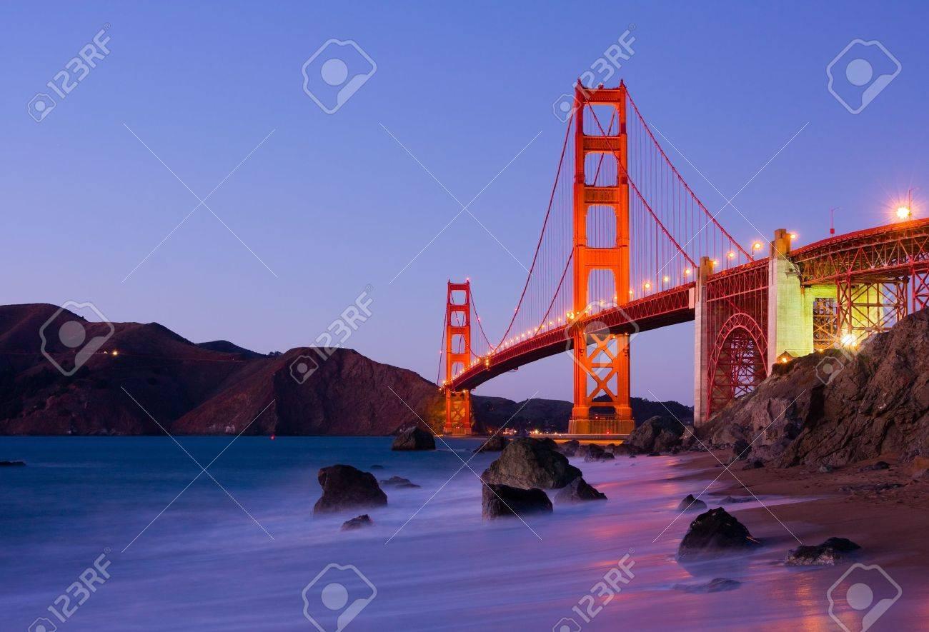 Golden Gate Bridge at night - 12037880