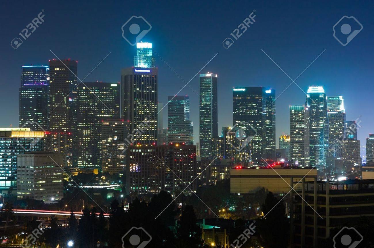Los Angeles skyscrapers at night - 12893960