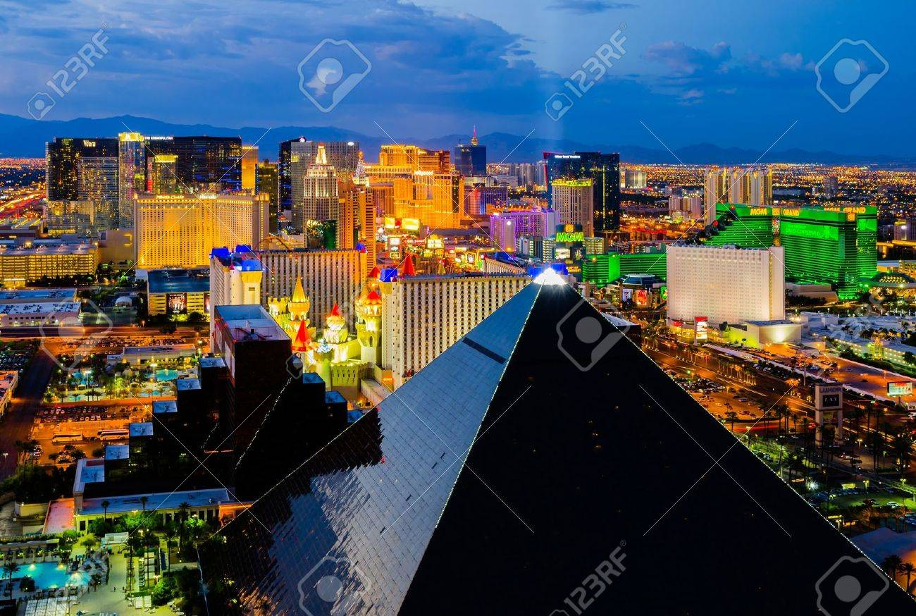 Las Vegas, USA - August 13, 2012: An aerial view of Las Vegas strip. The strip is approximately 4.2 mi (6.8 km) long and featured with world class hotels and casinos. - 15227629