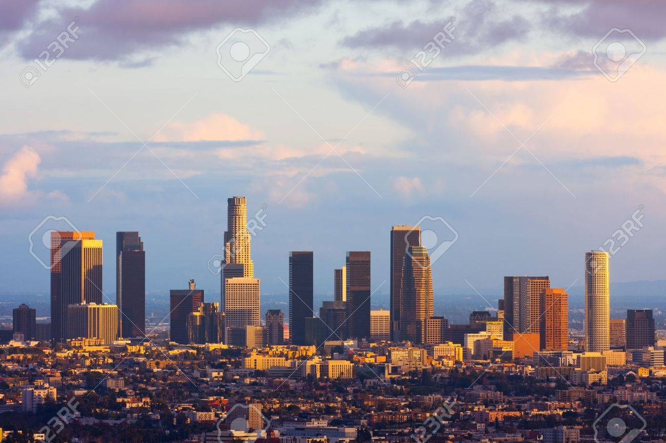 Los Angeles downtown at sunset - 18675386