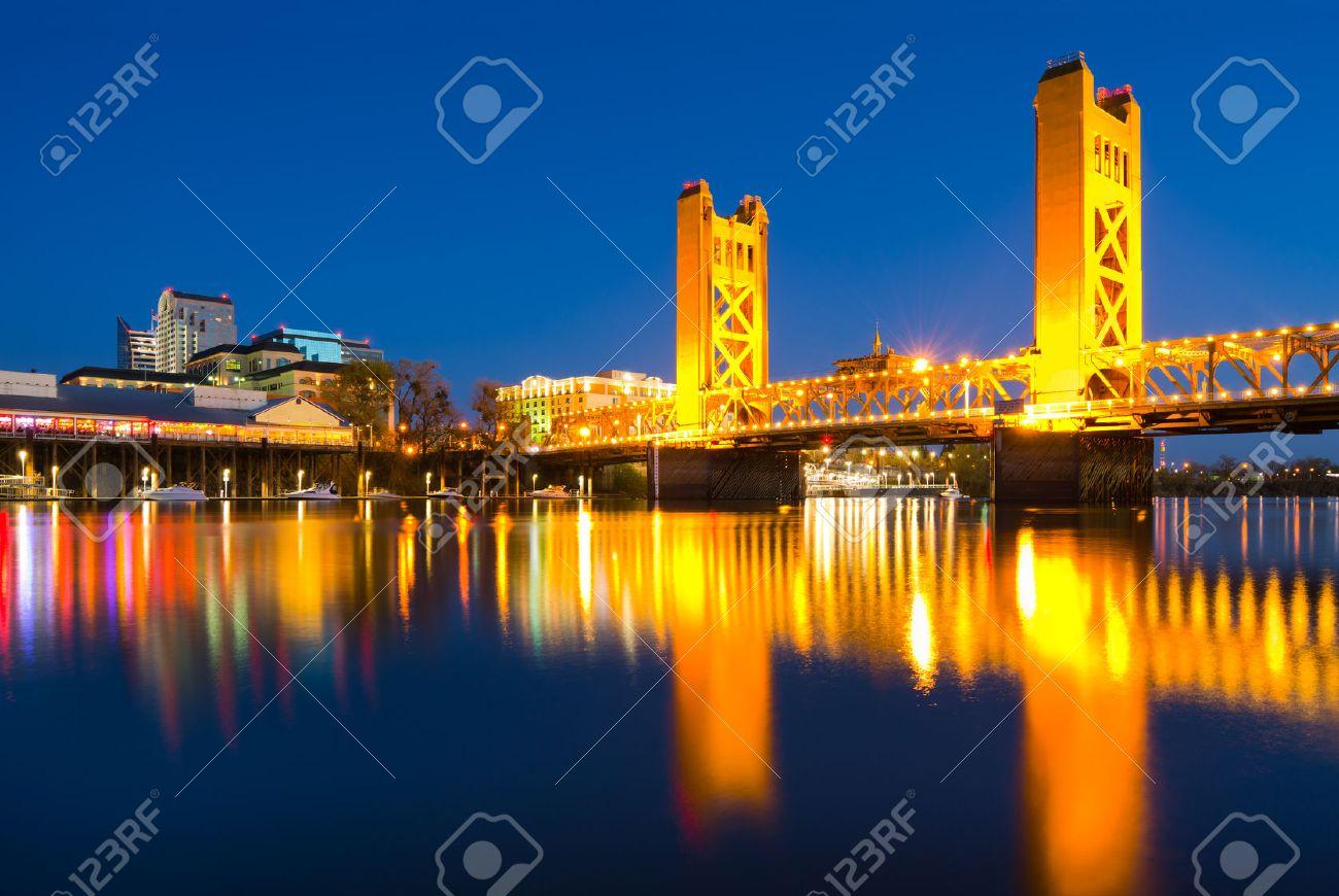 Tower Bridge at night in Sacramento California - 26851133
