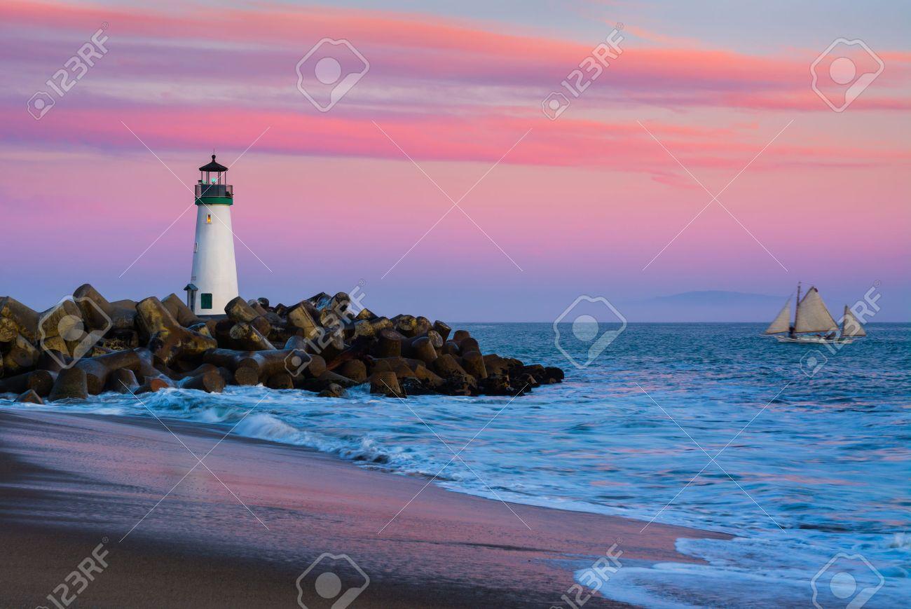 Santa Cruz Breakwater Lighthouse in Santa Cruz, California at sunset - 38768831