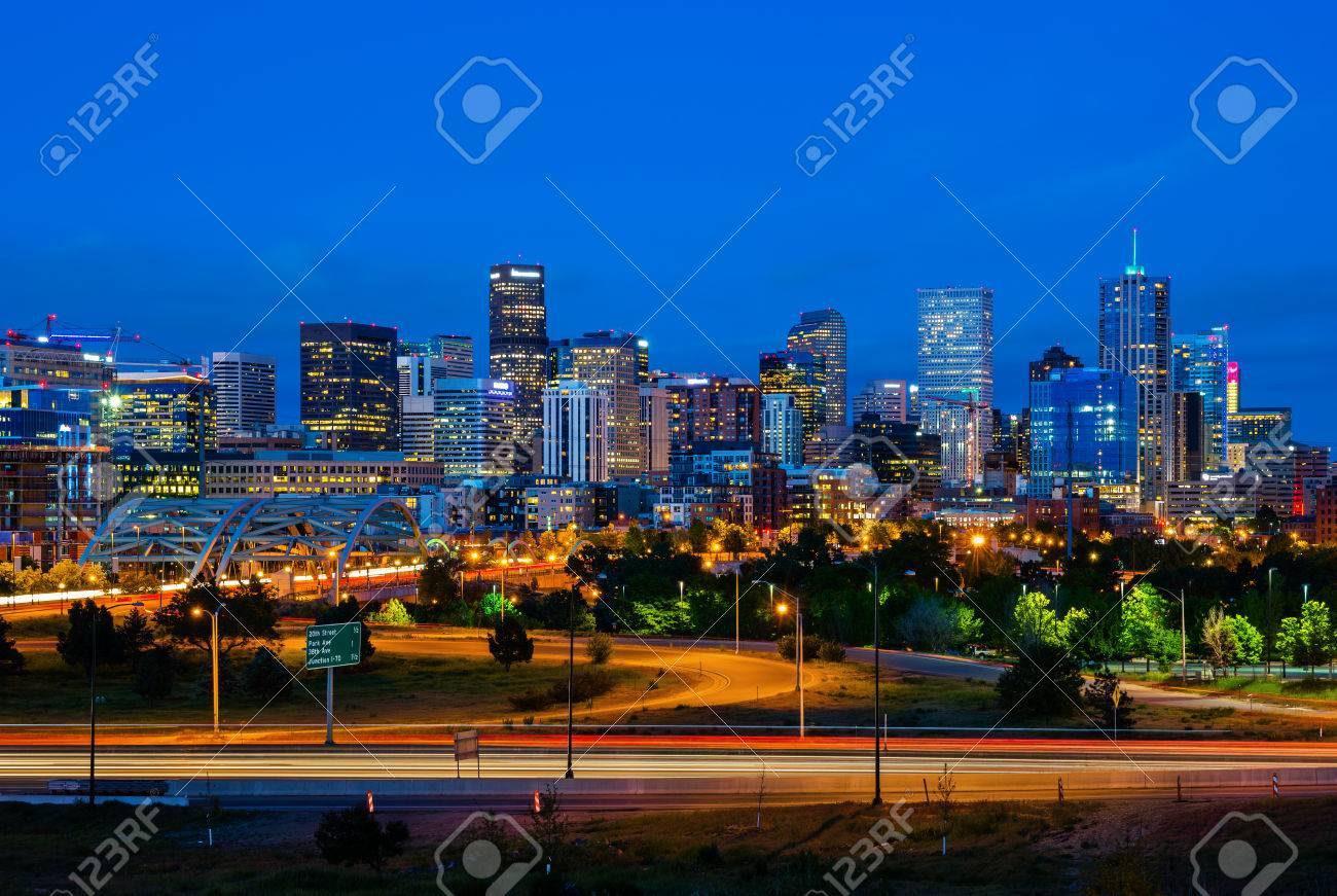 Downtown Denver Colorado at night - 63949636
